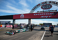 Sep 4, 2020; Clermont, Indiana, United States; NHRA top alcohol dragster driver Corey Michalek during qualifying for the US Nationals at Lucas Oil Raceway. Mandatory Credit: Mark J. Rebilas-USA TODAY Sports
