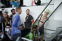 Pierre Rolland (FRA/Cannondale-Drapac) needs to be helped out of his soaked clothes after finishing while thunderstorms hit the race hard coming up the finial climb<br /> <br /> finish of stage 9 in Andorra Arcalis (coming from Velha Val d'Aran/ESP, 184km)<br /> 103rd Tour de France 2016
