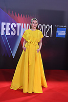LONDON, ENGLAND - OCTOBER 10: Lily Rabe attending 'The Tender Bar' Premiere - the 65th BFI London Film Festival at The Royal Festival Hall on October 10, 2021, London, England.<br /> CAP/MAR<br /> ©MAR/Capital Pictures