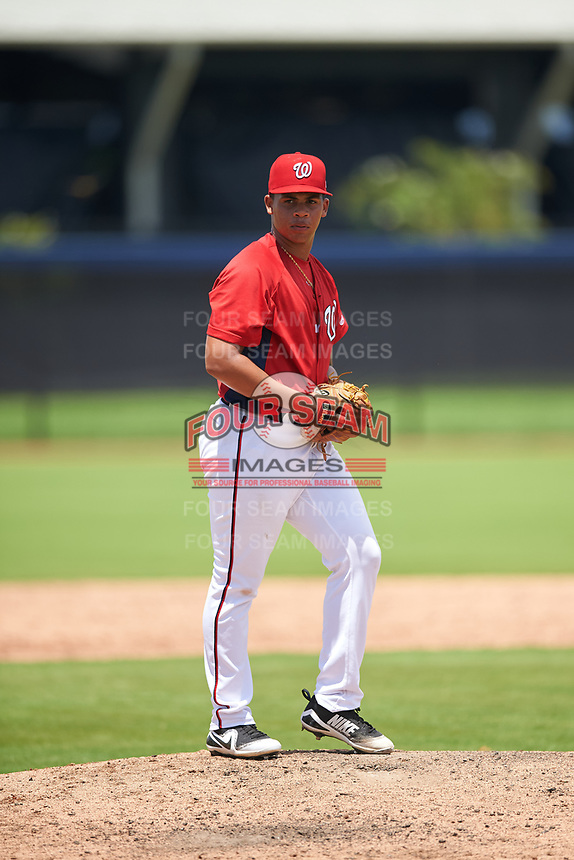 GCL Nationals pitcher Bryan Pena (39) during a Gulf Coast League game against the GCL Astros on August 9, 2019 at FITTEAM Ballpark of the Palm Beaches training complex in Palm Beach, Florida.  GCL Nationals defeated the GCL Astros 8-2.  (Mike Janes/Four Seam Images)