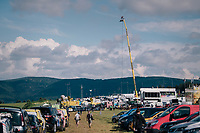 the broadcast/technical village that arrises every day behind the finish line of every Tour stage<br /> <br /> Stage 14: Saint-Paul-Trois-Châteaux > Mende (187km)<br /> <br /> 105th Tour de France 2018<br /> ©kramon