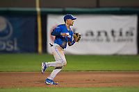 Ogden Raptors second baseman Jeremy Arocho (8) prepares to make a throw to first base during a Pioneer League game against the Orem Owlz at Home of the OWLZ on August 24, 2018 in Orem, Utah. The Ogden Raptors defeated the Orem Owlz by a score of 13-5. (Zachary Lucy/Four Seam Images)