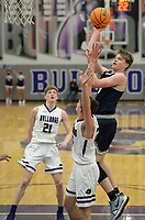 Bentonville West's Dawson Price (right) takes a shot in the lane Tuesday, Jan. 5, 2021, as he is pressured by Fayetteville's Matt Wayman (center) and Will Yoakley (21) during the first half of play in Bulldog Arena in Fayetteville. Visit nwaonline.com/210106Daily/ for today's photo gallery. <br /> (NWA Democrat-Gazette/Andy Shupe)