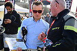 Recently retired rider Thomas Voeckler (FRA) now ASO ambassador at sign on in Compiegne before the start of the 116th edition of Paris-Roubaix 2018. 8th April 2018.<br /> Picture: ASO/Pauline Ballet | Cyclefile<br /> <br /> <br /> All photos usage must carry mandatory copyright credit (© Cyclefile | ASO/Pauline Ballet)
