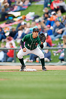 Great Lakes Loons first baseman Luis Paz (41) during a game against the Burlington Bees on May 4, 2017 at Dow Diamond in Midland, Michigan.  Great Lakes defeated Burlington 2-1.  (Mike Janes/Four Seam Images)