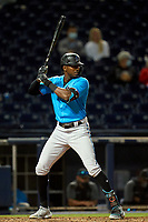 Miami Marlins Lewis Brinson (25) bats during a Major League Spring Training game against the Washington Nationals on March 20, 2021 at FITTEAM Ballpark of the Palm Beaches in Palm Beach, Florida.  (Mike Janes/Four Seam Images)