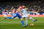Yannick Ferreira Carrasco (l) of Atletico de Madrid competes for the ball with Facundo Roncaglia of RC Celta de Vigo during their La Liga match between Atletico de Madrid and RC Celta de Vigo at the Vicente Calderón Stadium on 12 February 2017 in Madrid, Spain. Photo by Diego Gonzalez Souto / Power Sport Images