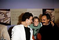 Serge Dupire, Guillaume Lemay-Thivierge et Jean Beaudin en conference de presse pour LE MATOU au Festival des films du monde 1985<br /> <br /> <br /> (date inconnue)<br /> <br /> PHOTO : Agence Quebec Presse
