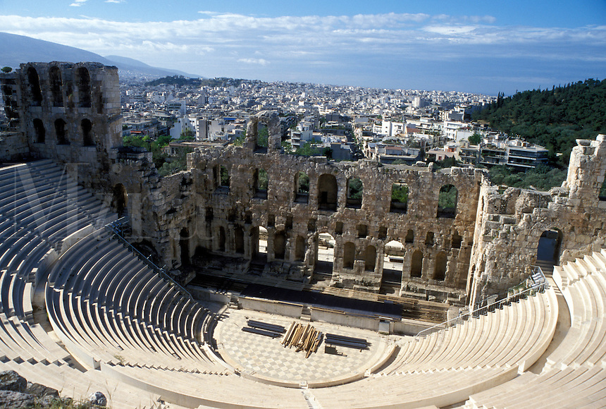 Athens, Acropolis, theater, Greece, Europe, Theatre of Herodes Atticus at the Acropolis.