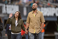 San Diego, Ca - Sunday, January 21, 2018: Hope Solo Jerramy Stevens during a USWNT 5-1 victory over Denmark at SDCCU Stadium.