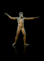 Early classical ancient Greek bronze statue of Zeus or Poseidon, circa 450 BC. Athens National Arcjaeological Museum, cat no X15161. Black background<br /> <br /> <br /> This bronze statue was found in the sea off Cape Artemision in northern Euobea. Zeus or Poseidon is shown making a great stride. His lefy arm is extended forward and his righy arm extends back which would have held a thunderbolt, if Zeus, or a trident if Poseidon. The identification of the statue is controversial though it ios more likely Zeus. <br /> <br /> It is one of the few preserved original statues of Severe Style, notable for the exuisite rendering of motion and anatomy. Iy is certainly the work of a great sculptor of the early ancient Greek Classical period