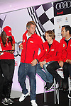 Real Madrid player Fabio Coentrao participates and receives new Audi during the presentation of Real Madrid's new cars made by Audi at the Jarama racetrack on November 8, 2012 in Madrid, Spain.(ALTERPHOTOS/Harry S. Stamper)