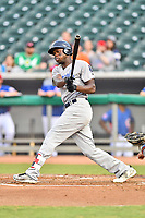 Pensacola Blue Wahoos right fielder Aristides Aquino (6) swings at a pitch during a game against the Tennessee Smokies at Smokies Stadium on August 30, 2018 in Kodak, Tennessee. The Blue Wahoos defeated the Smokies 5-1. (Tony Farlow/Four Seam Images)