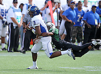 Armwood Hawks wide receiver Alvin Bailey #3 has the ball knocked out by defensive back Da'Wan Hunt #2 during the second quarter of the Florida High School Athletic Association 6A Championship Game at Florida's Citrus Bowl on December 17, 2011 in Orlando, Florida.  The score at halftime is Armwood 16 - Miami Central 14.  (Mike Janes/Four Seam Images)