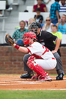Johnson City Cardinals catcher Charlie Neil (32) sets a target as home plate umpire Brock Ballou looks over his shoulder during the game against the Elizabethton Twins at Cardinal Park on July 27, 2014 in Johnson City, Tennessee.  The game was suspended in the top of the 5th inning with the Twins leading the Cardinals 7-6.  (Brian Westerholt/Four Seam Images)