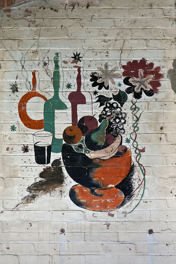 ©Si Barber 07739 472 922. <br /> Murals  in derelict buildings at former US Air Force base RAF Flixton, Suffolk.<br /> <br /> USAGE TERMS: ONE USE IN PRINT AND ONLINE. NO SYNDICATION, RETENTION, OR THIRD PARTY SALES. MINIMUM FEES APPLY