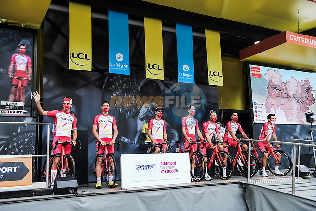 Cofidis at the Team Presentation before the start of Stage 1 of Criterium du Dauphine 2020, running 218.5km from Clermont-Ferrand to Saint-Christo-en-Jarez, France. 12th August 2020.<br /> Picture: ASO/Alex Broadway | Cyclefile<br /> All photos usage must carry mandatory copyright credit (© Cyclefile | ASO/Alex Broadway)