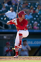 Palm Beach Cardinals Michael Perri (4) bats during a Florida State League game against the Clearwater Threshers on August 10, 2019 at Roger Dean Chevrolet Stadium in Jupiter, Florida.  Clearwater defeated Palm Beach 11-4.  (Mike Janes/Four Seam Images)