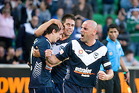 MELBOURNE, AUSTRALIA - DECEMBER 27: Kevin Muscat of the Victory celebrates a goal during the round 20 A-League match between the Melbourne Victory and the Newcastle Jets at AAMI Park on December 27, 2010 in Melbourne, Australia. (Photo by Sydney Low / Asterisk Images)