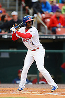 Buffalo Bisons outfielder Eugenio Velez #2 during the second game of a double header against the Lehigh Valley IronPigs on June 7, 2013 at Coca-Cola Field in Buffalo, New York.  Lehigh Valley defeated Buffalo 4-0.  (Mike Janes/Four Seam Images)