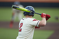Riley Tirotta (2) of the Dayton Flyers at bat against the Campbell Camels at Jim Perry Stadium on February 28, 2021 in Buies Creek, North Carolina. The Camels defeated the Flyers 11-2. (Brian Westerholt/Four Seam Images)