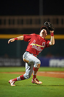 Palm Beach Cardinals third baseman Andrew Sohn (5) gets under a ball in foul territory during a game against the Bradenton Marauders on August 9, 2016 at McKechnie Field in Bradenton, Florida.  Bradenton defeated Palm Beach 8-7.  (Mike Janes/Four Seam Images)