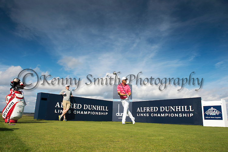 Padraig Harrington tees off at the 13th Old course St Andrews Dunhill Links Trophy Practise day Tuesday 30th September 2014.