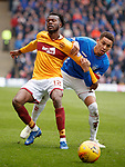 07.04.2019 Motherwell v Rangers: Gboly Ariyibi and James Tavernier