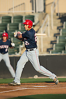 Ryan Ripken (25) of the Hagerstown Suns follows through on his swing against the Kannapolis Intimidators at Kannapolis Intimidators Stadium on May 4, 2016 in Kannapolis, North Carolina.  The Intimidators defeated the Suns 7-4.  (Brian Westerholt/Four Seam Images)