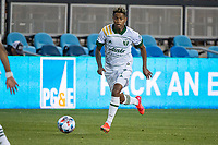 SAN JOSE, CA - MAY 15: Pablo Bonilla #28 of the Portland Timbers during a game between San Jose Earthquakes and Portland Timbers at PayPal Park on May 15, 2021 in San Jose, California.