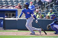 Round Rock second baseman Pedro Ciriaco (15) swings against the Omaha Storm Chasers at Werner Park on April 12, 2016 in Omaha, Nebraska.  The Express won 6-4.  (Dennis Hubbard/Four Seam Images)