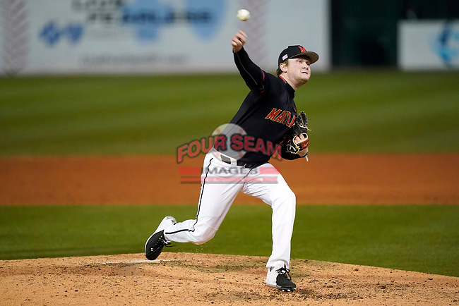 Piotcher Sean Heine (22) of the Maryland Terrapins in a game against the Michigan State Spartans on Saturday, March 6, 2021, at Fluor Field at the West End in Greenville, South Carolina. (Tom Priddy/Four Seam Images)