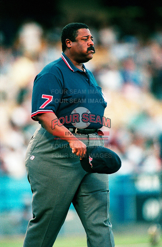 Umpire Eric Gregg during a game at Dodger Stadium in Los Angeles, California during the 1997 season.(Larry Goren/Four Seam Images)