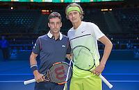 Februari 09, 2015, Netherlands, Rotterdam, Ahoy, ABN AMRO World Tennis Tournament, Alexander Zverev (GER) - Roberto Bautista (AUT)<br /> Photo: Tennisimages/Henk Koster