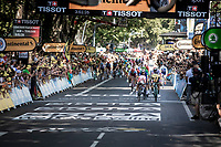 Caleb Ewan (AUS/Lotto Soudal) wins the bunch sprint to finish line against Dylan Groenewegen (NED/Jumbo Visma)<br /> <br /> Stage 11: Albi to Toulouse (167km)<br /> 106th Tour de France 2019 (2.UWT)<br /> <br /> ©kramon