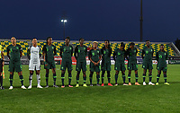 20190227 - LARNACA , CYPRUS : Nigerian players with Oluehi Tochukwu (1) , Ohale Osinachi (3) , Ebi Onome (5) , Imo Anam (7) , Oshoala Asisat (8) , Chikwelu Rita (10) , Chinaza Uchendu  (11) , Michael Faith Ikidi (14) , Ayinde Halimatu (18) , Ihezuo Chinwendu (19) and Nku Cecilia (23)  pictured posing for the teampicture during a women's soccer game between the Super Falcons of Nigeria and Austria , on Wednesday 27 February 2019 at the AEK Arena in Larnaca , Cyprus . This is the first game in group C for both teams during the Cyprus Womens Cup 2019 , a prestigious women soccer tournament as a preparation on the Uefa Women's Euro 2021 qualification duels. PHOTO SPORTPIX.BE | DAVID CATRY