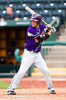 Kevin Kaczmarski (4) of the Evansville Purple Aces at bat during a game against the Missouri State Bears at Hammons Field on May 12, 2012 in Springfield, Missouri. (David Welker/Four Seam Images).