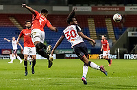 Bolton Wanderers' Peter Kioso flicks the ball on<br /> <br /> Photographer Andrew Kearns/CameraSport<br /> <br /> The EFL Sky Bet League Two - Bolton Wanderers v Salford City - Friday 13th November 2020 - University of Bolton Stadium - Bolton<br /> <br /> World Copyright © 2020 CameraSport. All rights reserved. 43 Linden Ave. Countesthorpe. Leicester. England. LE8 5PG - Tel: +44 (0) 116 277 4147 - admin@camerasport.com - www.camerasport.com