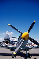 Supermarine Spitfire Mk IX on Static Display - at Abbotsford International Airshow, BC, British Columbia, Canada - US Air Force Lockheed C-5 Galaxy Military Cargo Transport Aircraft in background