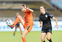 HOUSTON, TX - SEPTEMBER 10: Shea Groom #6 of the Houston Dash gains control of a loose ball in front of Sarah Woldmoe #16 of the Chicago Red Stars during a game between Chicago Red Stars and Houston Dash at BBVA Stadium on September 10, 2021 in Houston, Texas.