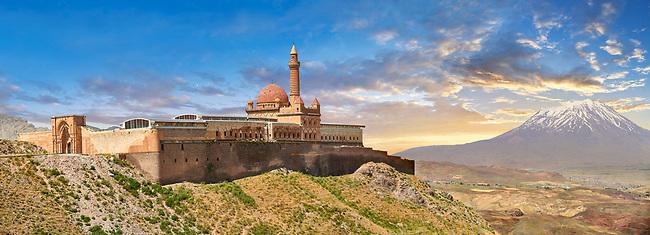 Exterior walls with Minarete of the Mosque of the 18th Century Ottoman architecture of the Ishak Pasha Palace (Turkish: İshak Paşa Sarayı) ,  Agrı province of eastern Turkey.