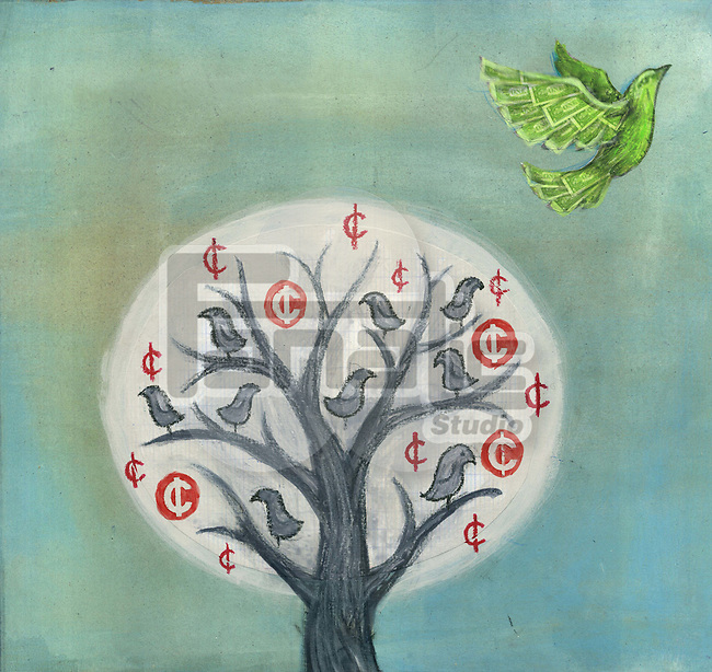 Bird flying up from a money tree