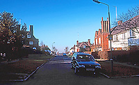 London: Hampstead Garden Suburb--Emerging from Big Wood onto Temple Fortune Hill, looking west.  Photo '90.