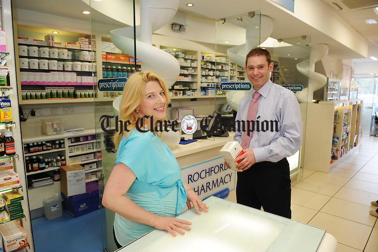 Audrey Kinahan and Brendan Rochford of Rochfords Pharmacy, Ennis. Photograph by John Kelly.