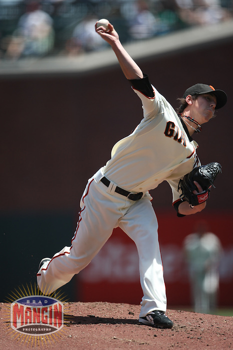 SAN FRANCISCO - MAY 15:  Tim Lincecum of the San Francisco Giants pitches during the game against the Houston Astros at AT&T Park in San Francisco, California on May 15, 2008.  The Astros defeated the Giants 8-7.  Photo by Brad Mangin