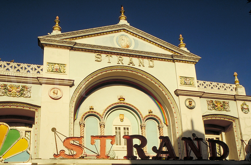 The colorful Strand theater on Duval Street in Key West, Florida. architecture, ornamental. Florida, Florida Keys.