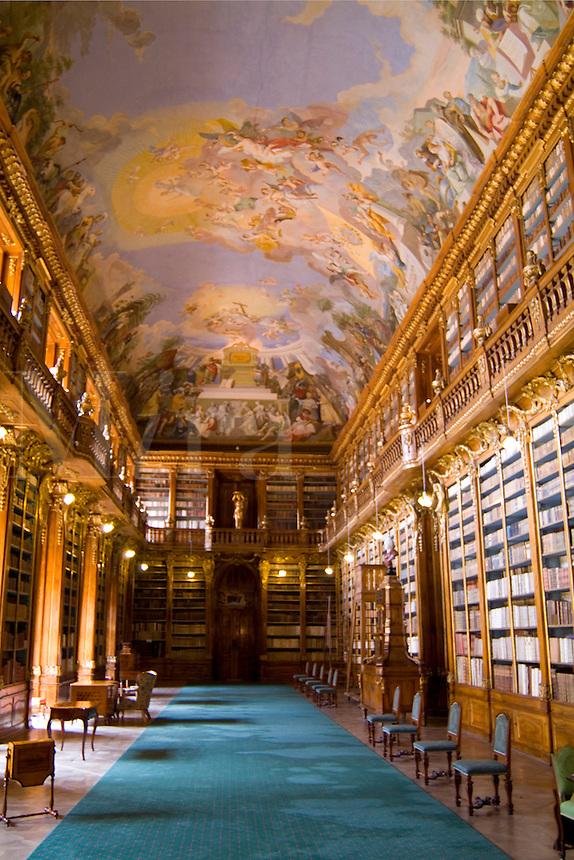 Historic Strahov Library with rare historical books, Prague Czech, Republic