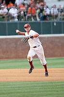 Caleb Bushyhead of the Oklahoma Sooners playing in Game Two of the NCAA Super Regional tournament against the Virginia Cavaliers at Charlottesville, VA - 06/13/2010. Oklahoma defeated Virginia, 10-7, to tie the series after two games.  Photo By Bill Mitchell / Four Seam Images