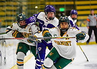 2 February 2020: Holy CrossCrusader Forward Mary Edmonds, a Freshman from Fairfield, CT, in second period action against the University of Vermont Catamounts at Gutterson Fieldhouse in Burlington, Vermont. The Lady Cats rallied in the 3rd period to tie the Crusaders 2-2 in NCAA Women's Hockey East play. Mandatory Credit: Ed Wolfstein Photo *** RAW (NEF) Image File Available ***