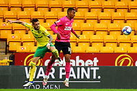 3rd October 2020; Carrow Road, Norwich, Norfolk, England, English Football League Championship Football, Norwich versus Derby; Xavi Quintilla of Norwich City competes for the ball with Morgan Whittaker of Derby County